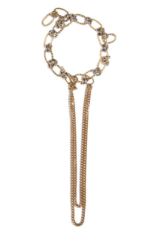 Golden Modernist Chain Choker With Long Pendant
