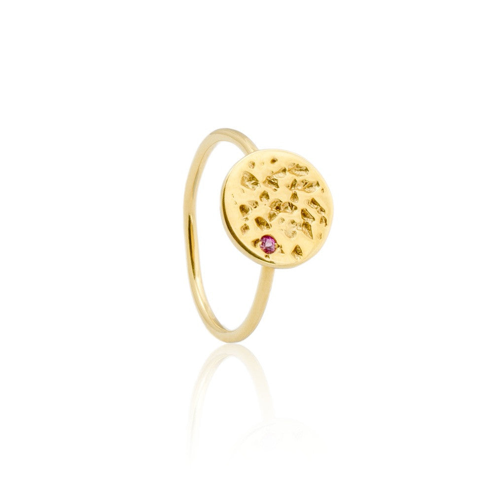 Io Moon Ring With Sapphire. British designer jewellery