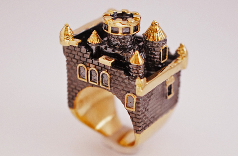 Gold Ruthenium Castle Ring by Monvatoo - Art Jewellery Store: Song of Jewellery