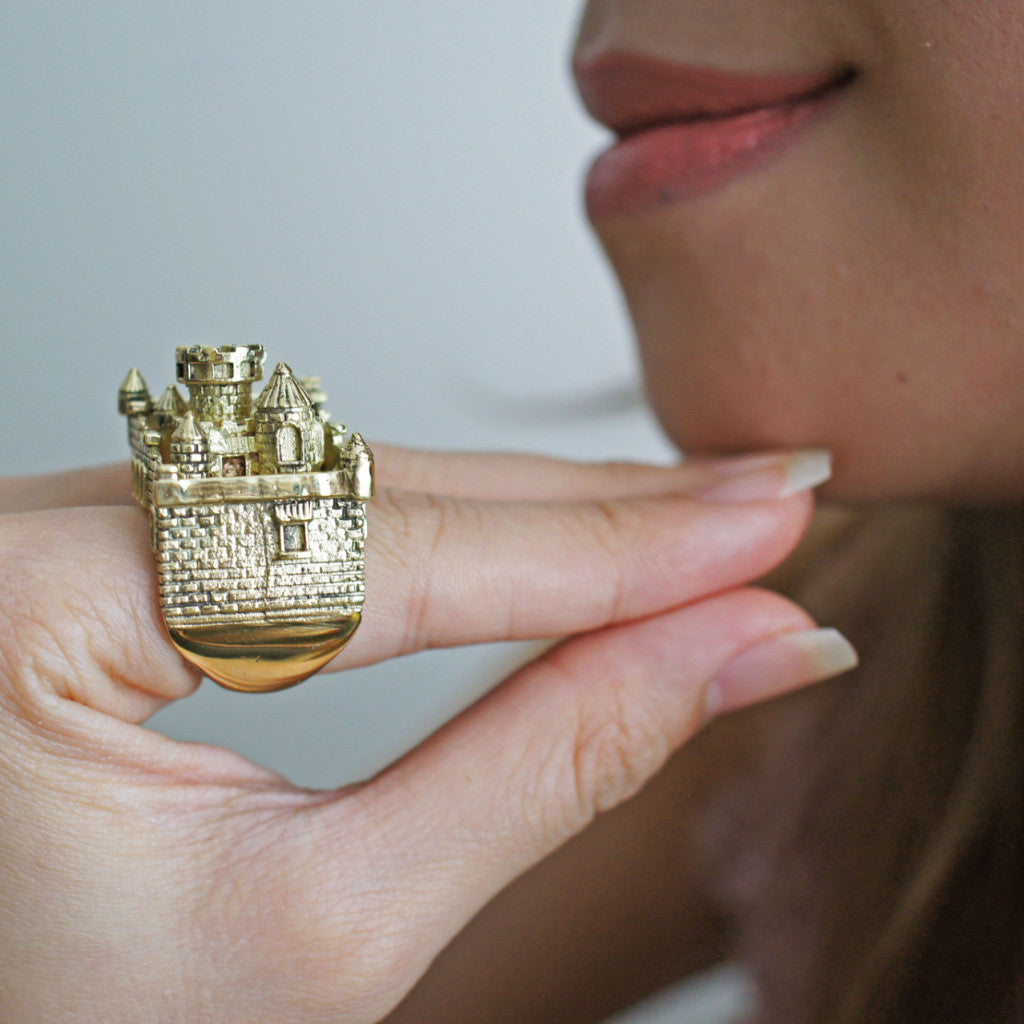 Gold Castle Ring - Statement Ring - New British Designers