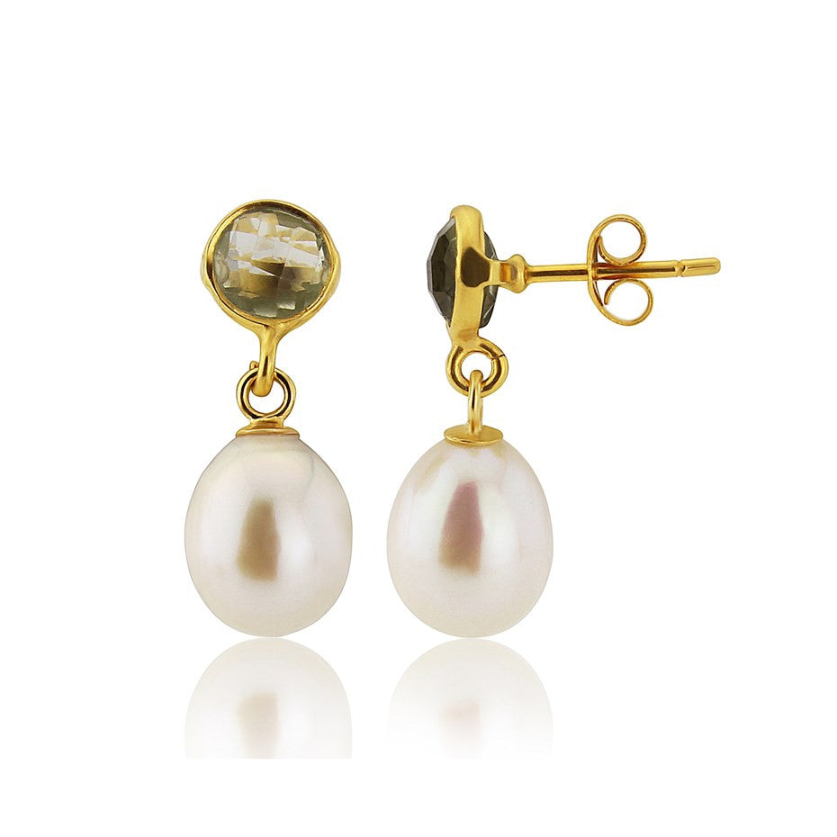 Green Amethyst and Pearl Gold Vermeil Stud Earrings by Argent London - Art Jewellery Store: Song of Jewellery