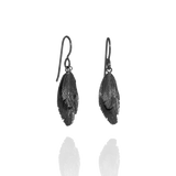 Oxidised Silver Feather Hook Earrings by Aurum - Art Jewellery Store: Song of Jewellery