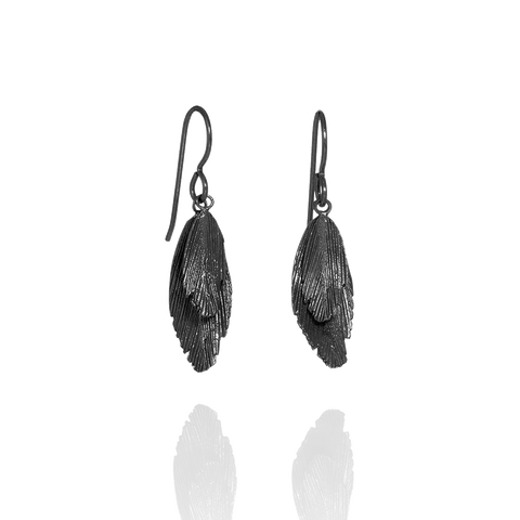 Oxidised Silver Feather Hook Earrings