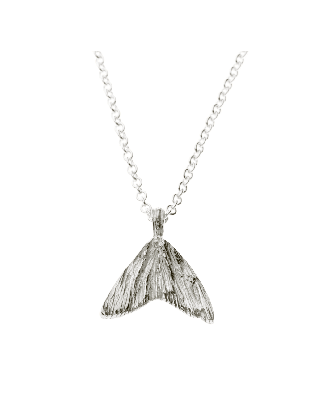 Silver Fish Tail Pendant Necklace - Silver Jewellery