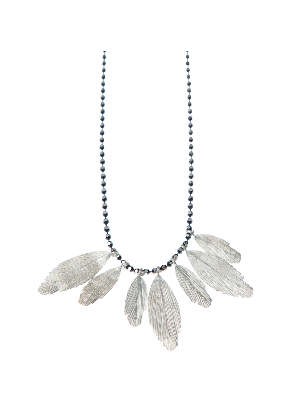 Silver Multiple Raven Feathers Necklace by Aurum - Art Jewellery Store: Song of Jewellery