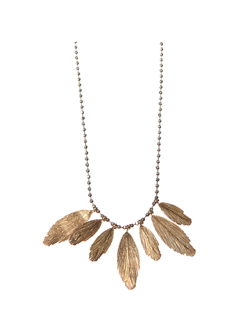 Red Gold Multiple Raven Feathers Necklace