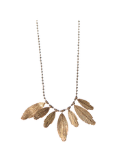 Red Gold Bohemian Feather Necklace - Ladies Jewellery. Song of Jewellery