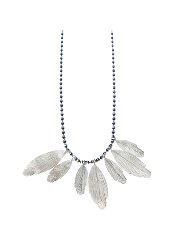 Silver Multiple Raven Feathers Necklace