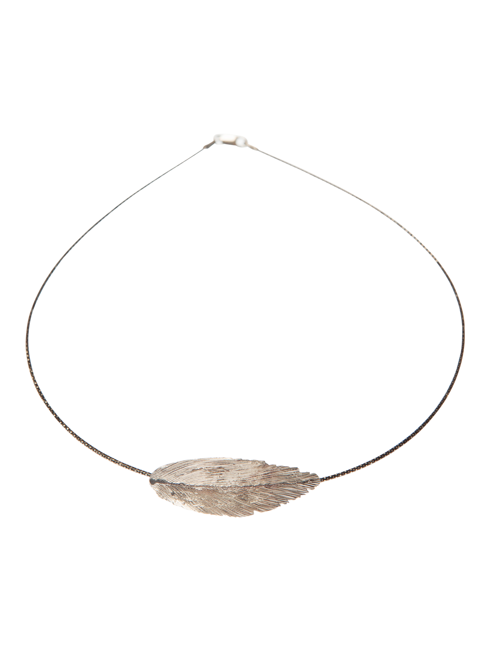 Round necklace with one silver feather. designer jewellery online