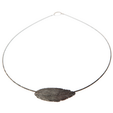 Oxidised Silver Round Feather Necklace by Aurum - Art Jewellery Store: Song of Jewellery