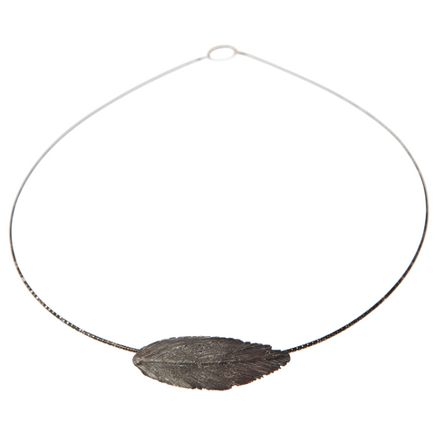 Oxidised Silver Round Feather Necklace