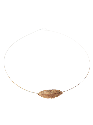 Red Gold Round Feather Necklace
