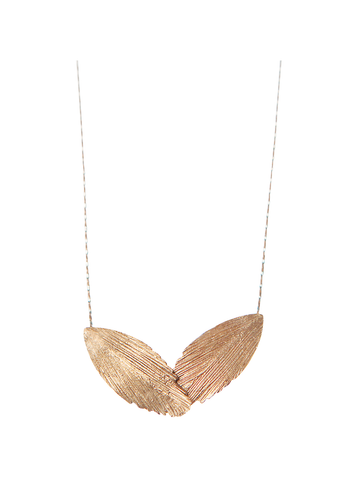 Raven Two Feather Gold Necklace