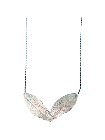 Raven Two Feather Silver Necklace