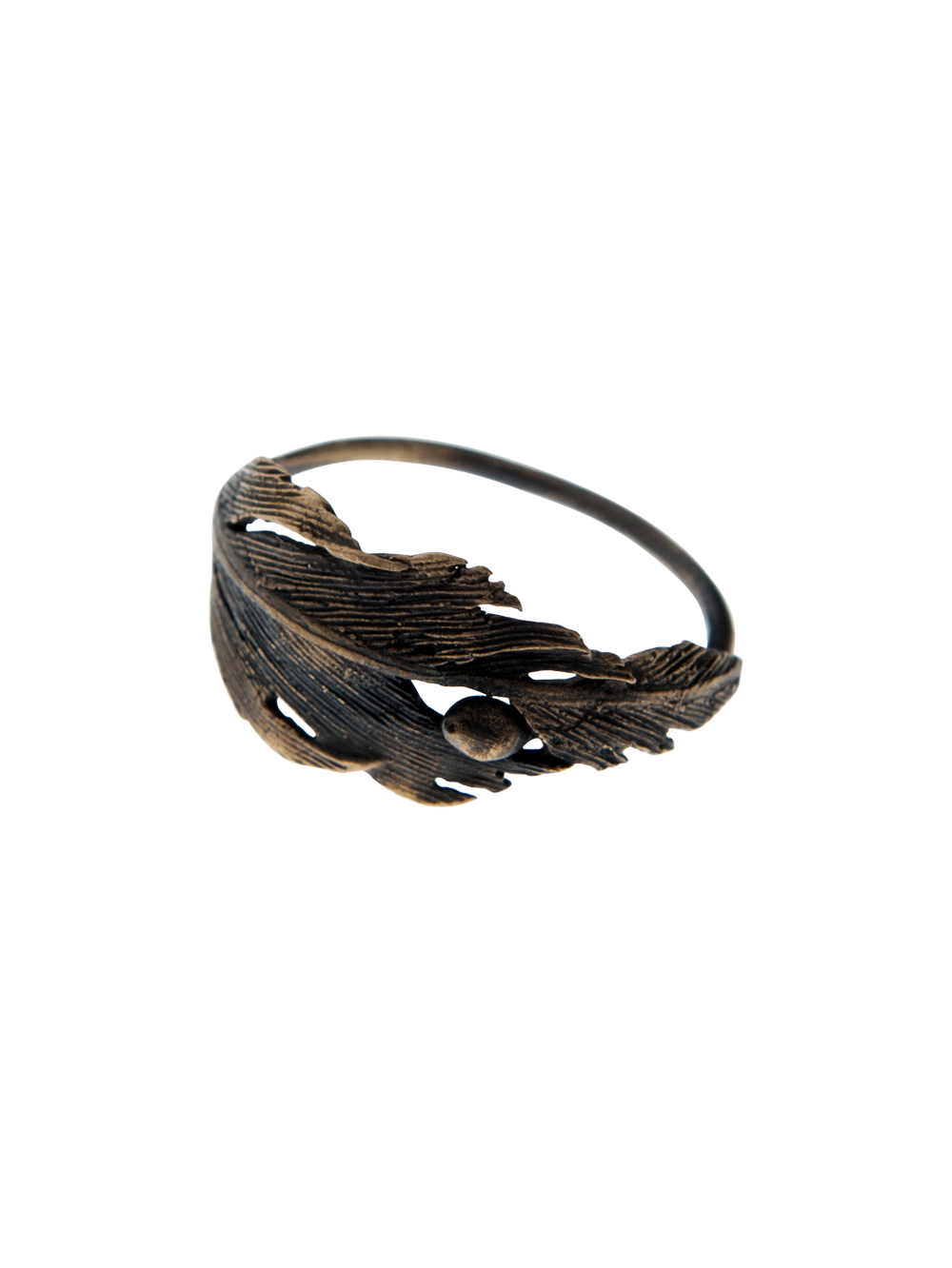 Statement falcon feather bronze ring by Icelandic jeweller Aurum. Size: 30mm x 10mm.