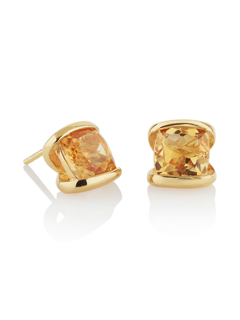 Exquisite Citrine Ear Studs | Shop British Jewellers | Free Shipping