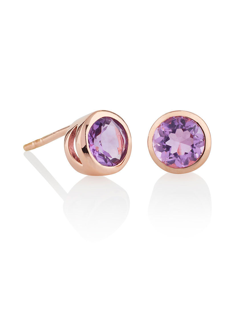 Juliet Gemstone Ear Studs With Amethyst by Manja - Art Jewellery Store: Song of Jewellery