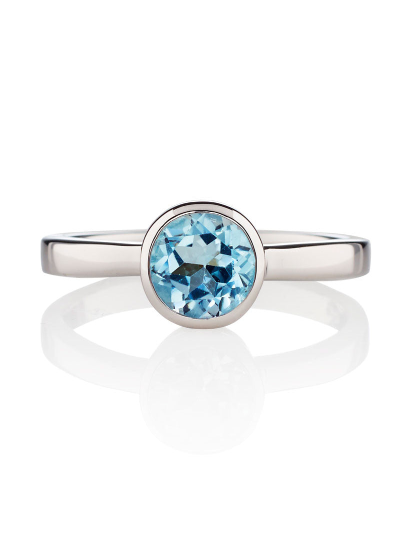 Juliet Sterling Silver Ring with Blue Topaz by Manja - Art Jewellery Store: Song of Jewellery