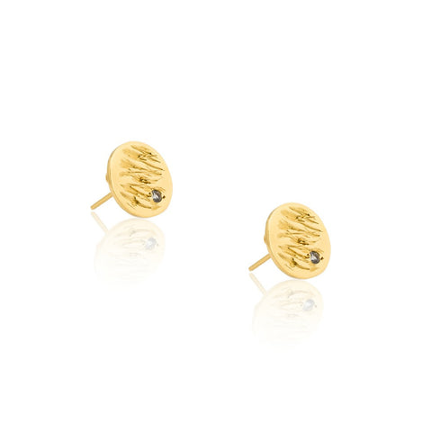 Jupiter Gold Vermeil Earrings with Sapphire by Kassandra Lauren Gordon - Art Jewellery Store: Song of Jewellery