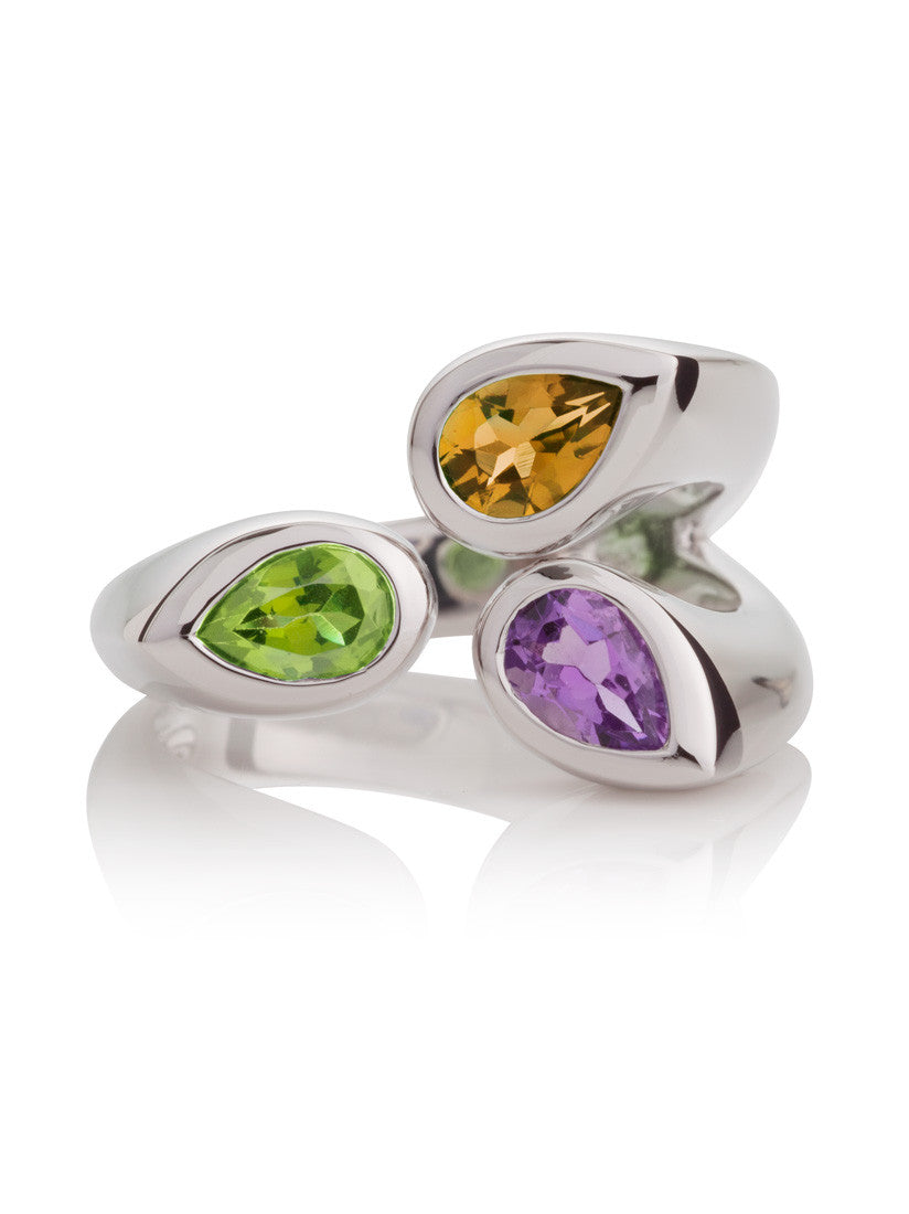 KAZO Silver Mixed Gemstone Ring (PCA) by Manja - Art Jewellery Store: Song of Jewellery
