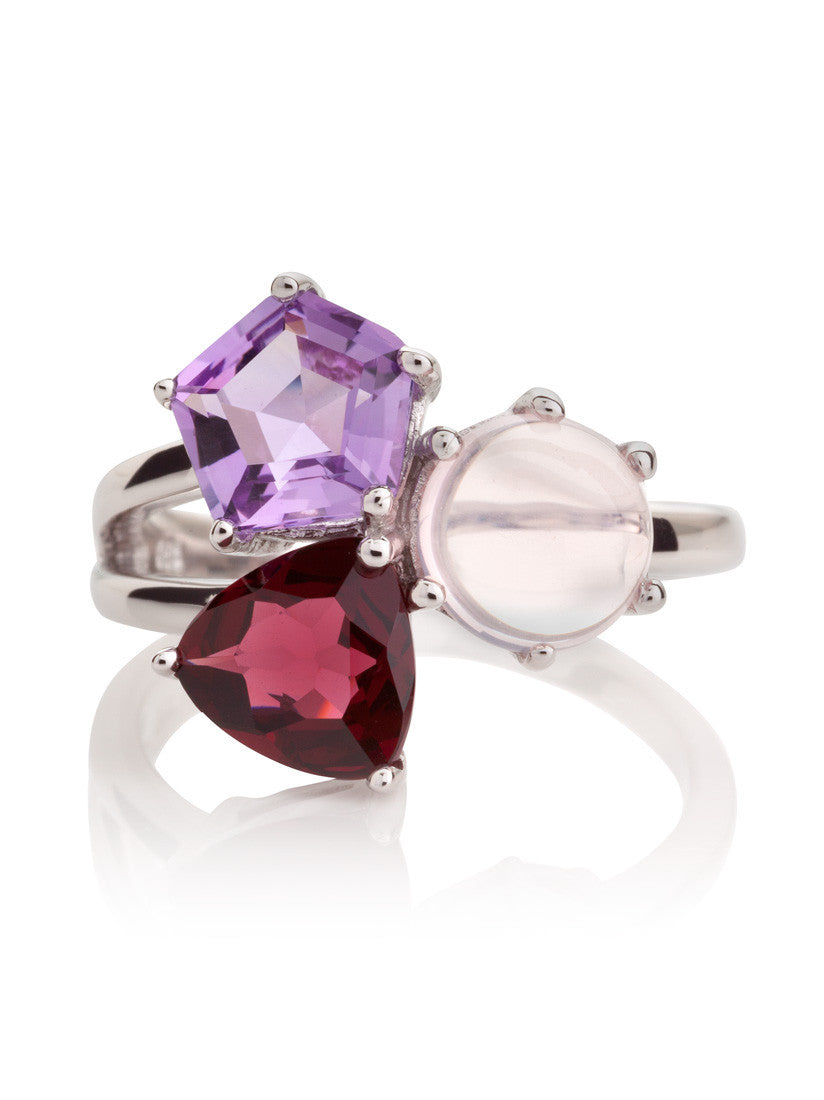 Kintana Sterling Silver Ring with Amethyst, Rhodolite & Rose Quartz by Manja - Art Jewellery Store: Song of Jewellery