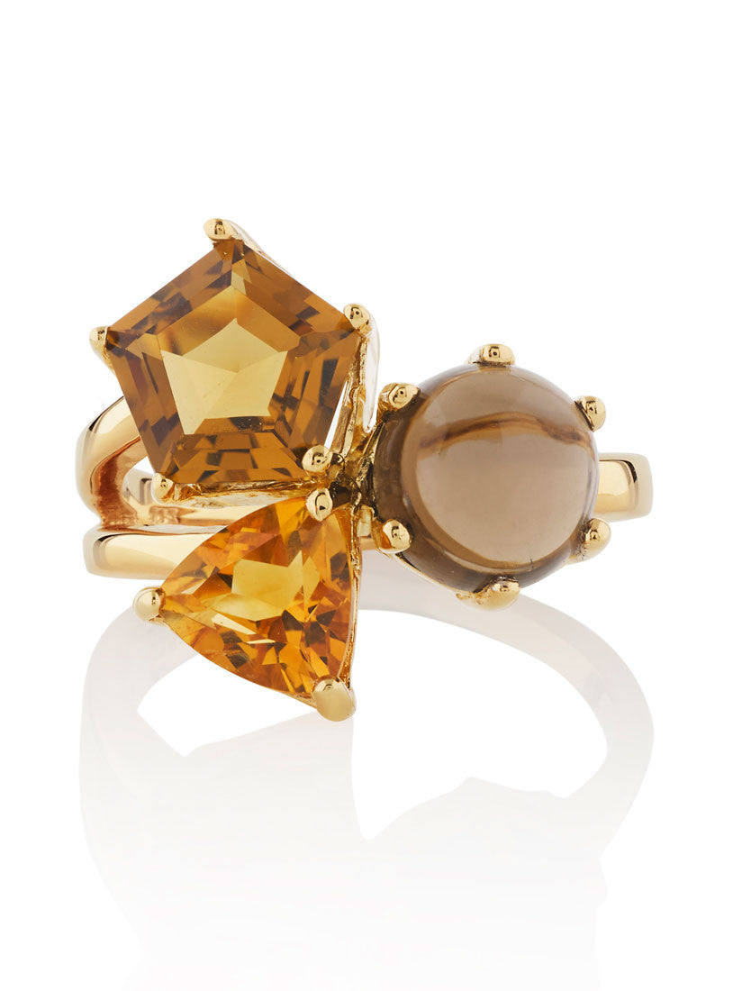 A trio of Cognac coloured gems form this elegant gemstone ring by British designer MANJA. Free Shipping.