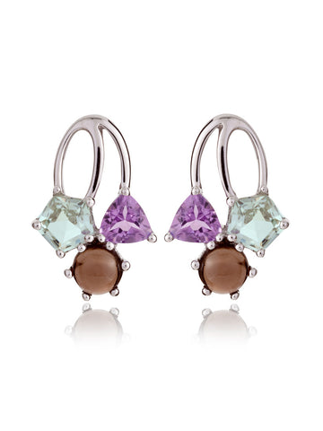 Kintana Mixed Gems Sterling Silver Earrings