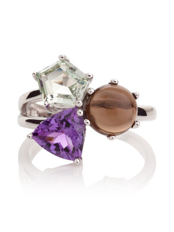 Kintana Sterling Silver Ring with Green Amethyst, Amethyst & Smoky Quartz