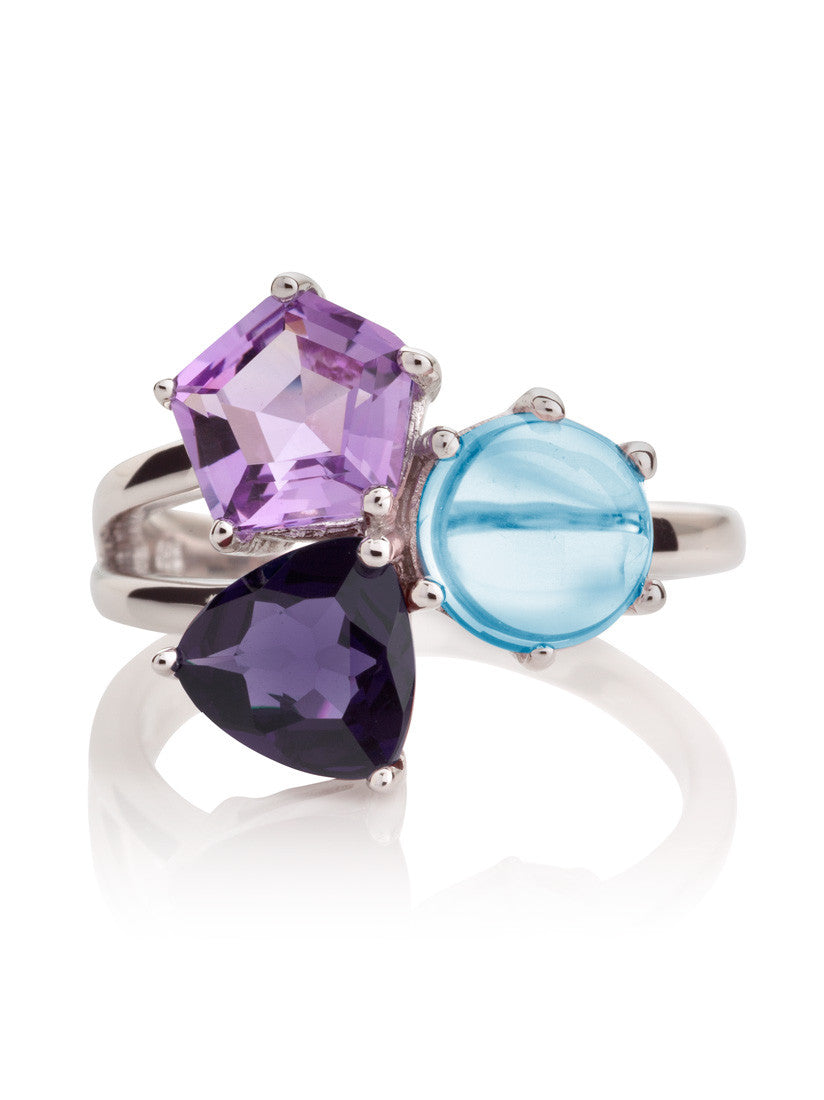 Kintana Sterling Silver Ring with Iolite, Amethyst & Blue Topaz