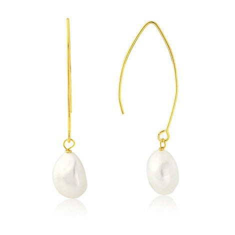 Gold Hook Pearl Earrings by Argent London - Art Jewellery Store: Song of Jewellery