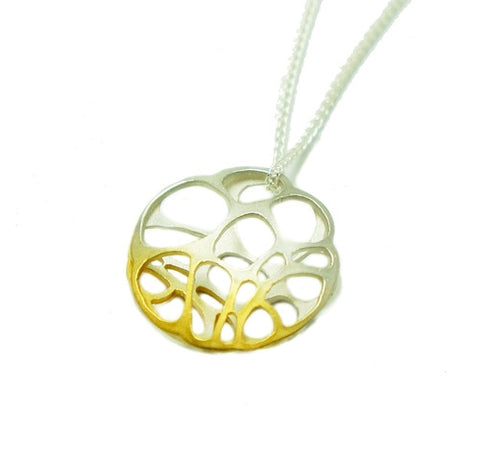 Gold and Silver Round Pendant Necklace