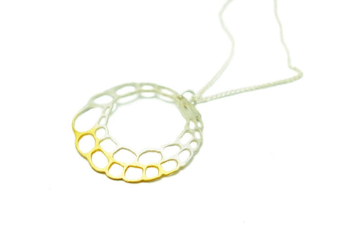 Lacewing Single Gold and Silver Hoop Pendant Necklace