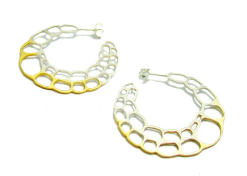 lacewing Gold and Black Hoop Earrings by Kokkino - Art Jewellery Store: Song of Jewellery