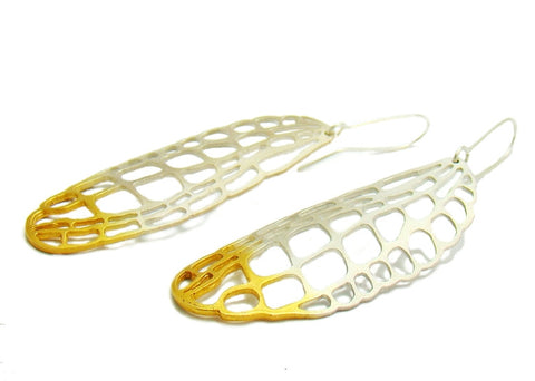 Gold and Silver Lacewing Large Earrings