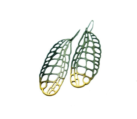 Gold and Black Lacewing Large Earrings