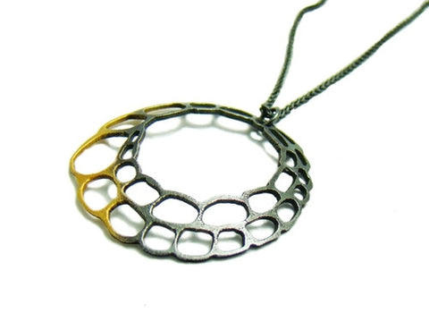 Gold and Black Hoop Pendant Necklace