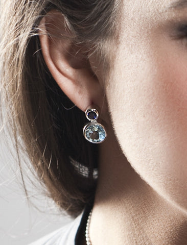 Lana Round Amethyst & Blue Topaz Silver Ear Studs by Manja - Art Jewellery Store: Song of Jewellery