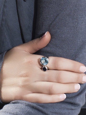 Lana Amethyst & Blue Topaz Silver Ring by Manja - Art Jewellery Store: Song of Jewellery