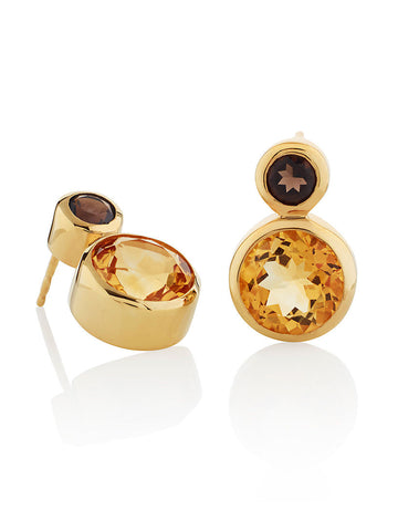 Lana Round Citrine & Smoky Quartz Ear Studs