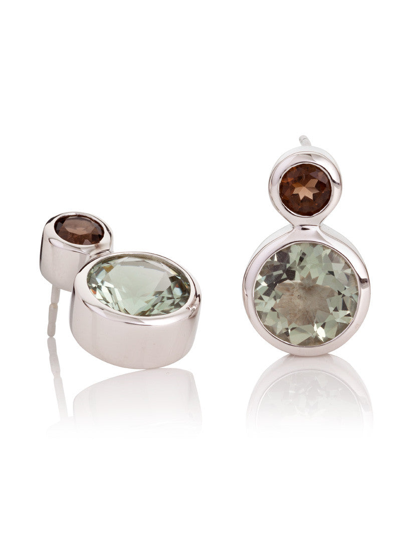 Lana Round Green Amethyst & Smoky Quartz Ear Studs by Manja - Art Jewellery Store: Song of Jewellery
