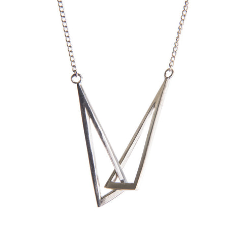 Large Silver Flare Linked Necklace