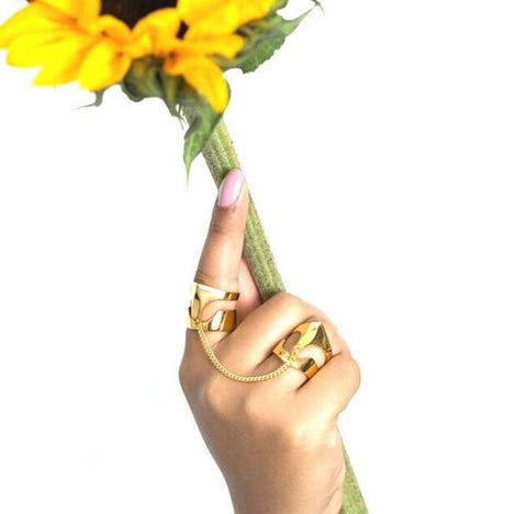 Lemta Gold T Shape Chained Rings Set by Rokus - Art Jewellery Store: Song of Jewellery