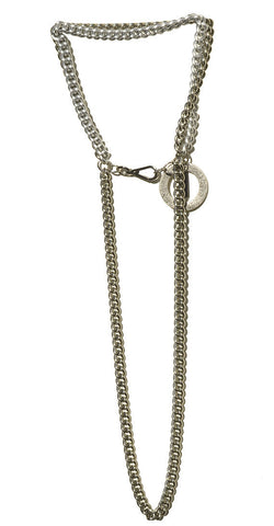 Long Multi Layered Chain Necklace with O Ring