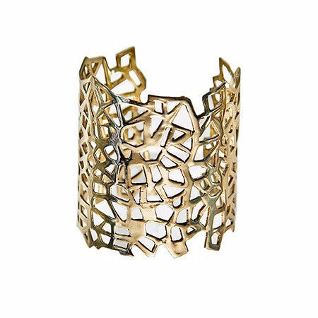 Gold Lutece Design Cuff by Co.Ro. Jewels - Art Jewellery Store: Song of Jewellery