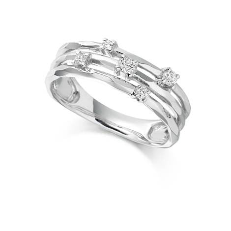 Multistrand White Gold Diamond Ring