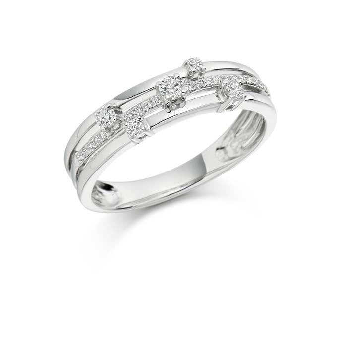 Multistrand White Gold 5 Diamond Ring