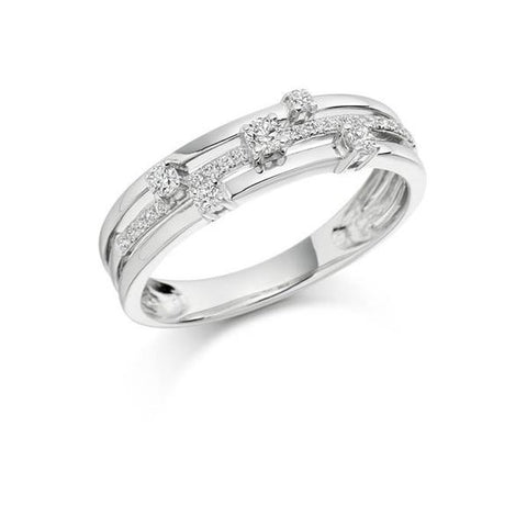 Multistrand White Gold 5 Diamond Ring by Argent London - Art Jewellery Store: Song of Jewellery