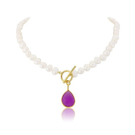 Pink Gemstone Pearl Necklace - Argent London | SOJ