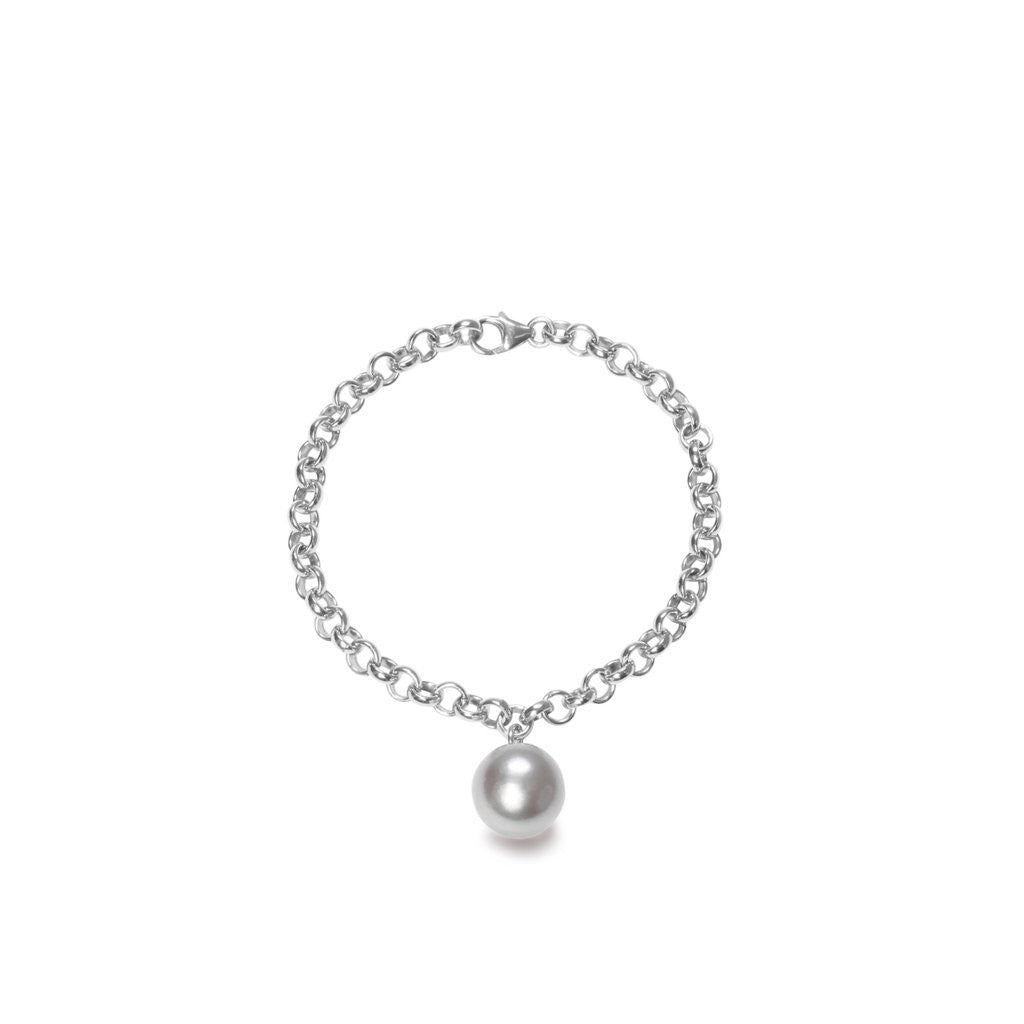 Large silver chain bracelet with grey XXL pearl charm by ORA Pearls