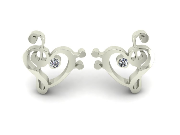 Melody White Gold Ear Studs With Diamonds